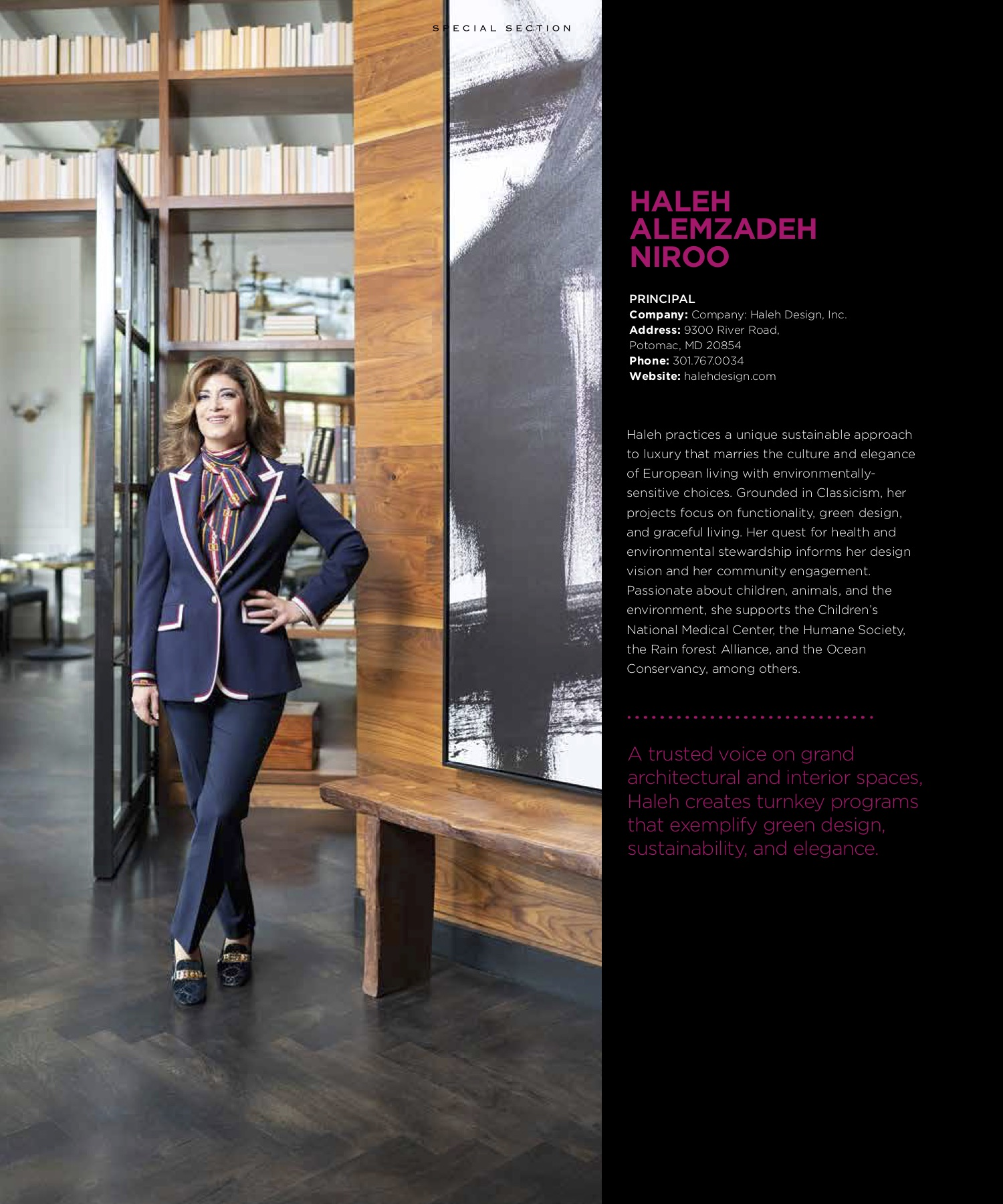Haleh Niroo, a Interior Designer female standing up during a DC Women Award Photo Shoot.